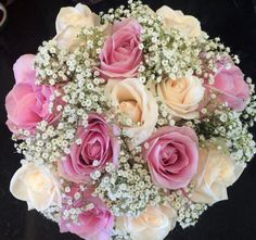Champagne rose and pink rose with gyp hand tied bridal bouquet