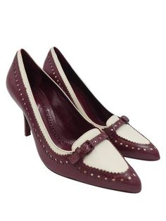 18296a86287 Tory Burch Burgundy Cream Darlene Loafer Patent Leather Pointy Toe Sz 7  Heels