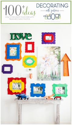 DIY colorful gallery wall perfect for your playroom!  Capturing-Joy.com