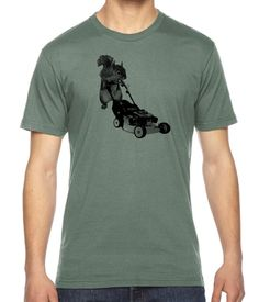 Lawn Mowing Squirrel Graphic American Apparel Fine Jersey T-shirt Rc14164