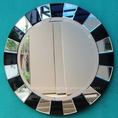Modern Mirror Black Adalia MG 013048 >> Venetian Mirror Manufacture Wholesale Size: Diameter 60 cm Diameter 80 cm Mirror Clips, 3d Mirror, Round Wall Mirror, Black Mirror, Fancy Mirrors, Unique Mirrors, Window Glass Design, Glass Painting Patterns, Bathroom Mirror Design