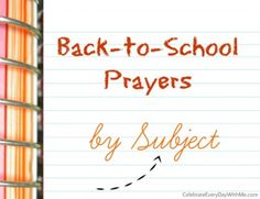 ´Back to School Prayers by Subject´