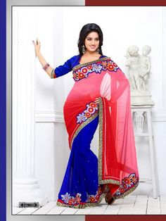 Hot Blue Pink Chiffon Saree with gorgette Blouse by proseditor Designer Sarees Collection, Saree Collection, Chiffon Saree, Chiffon Fabric, Indian Fashion Trends, Hot Blue, Casual Saree, Bollywood Saree, Buy Sarees Online