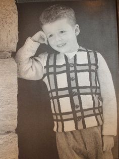 Boy's Plaid Sweater - 1960's Hipster Mod Button-up Sweater Cardigan - Vintage Knitting Pattern