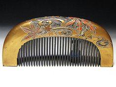 Edo Japanese Geisha Kushi Comb Kanzashi Lacquer Makie Gold Kinpaku Urushi Set 98   eBay