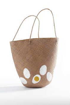 Handpainted shopping bag by Emanuela Ligabue. Painted Baskets, Painted Bags, Hand Painted, Sisal, Funky Design, Boho Bags, Cool Style, My Style, New Bag