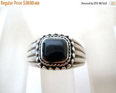 Sale Black Onyx Ring Sterling Silver by TheJewelryLadysStore