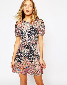 Image 1 ofOasis Clustered Ditsy Print Dress