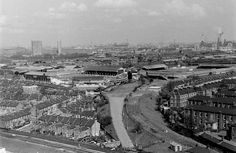"""Old Kent looking north east towards Deptford and Greenwich. In view to the left is the New Cross Greyhound Stadium and on right is the Millwall Football Stadium """"THE DEN"""". South London, Old London, London City, London History, Local History, Old Pictures, Old Photos, Vintage Photos, Bermondsey London"""