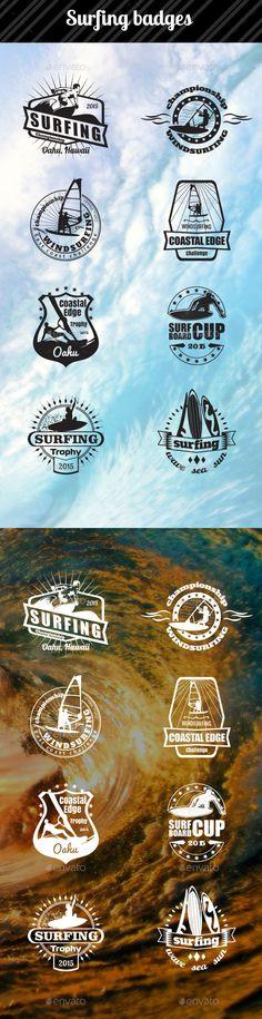 Surfing Badges #logos #design Download: http://graphicriver.net/item/surfing-badges/11890857?ref=ksioks