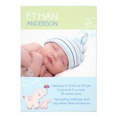 "Elephants Baby Boy Photo Birth Announcements 5"" X 7"" Invitation Card"