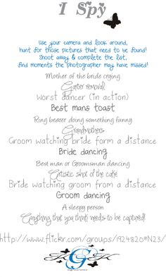 Wedding I-Spy. Give to people to submit their pictures on a website.  Cute idea!  Little typo with 'from' vs. 'form'.