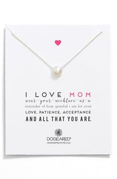 """The necklace says it all; """"I love Mom."""""""