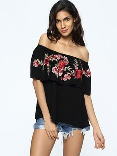 Floral Embroidery Boat Neck Ladies Blouse Design