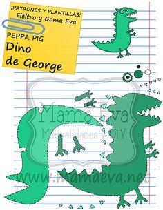 Descarga gratis nuestras plantillas para goma eva y fieltro de tus personajes de dibujos animados actuales favoritos: Peppa Pig, George, el Dinosaurio... Quiet Book Templates, Felt Board Templates, Felt Crafts, Diy And Crafts, Peppa Pig Wallpaper, George Pig Party, Toy Craft, Busy Book, Stuffed Toys Patterns