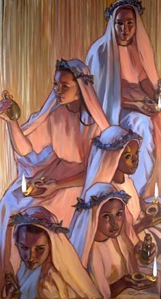 Five That Were Wise, By Rose Datoc Dall. It reminds me of religious sisters on the day they take their vows. Lds Art, Bible Art, Catholic Art, Religious Art, Religious Pictures, Art Magique, Bible Illustrations, Prophetic Art, Biblical Art
