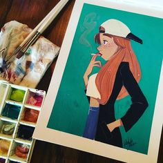 Relaxing in Pennsylvania, made me think of my favorite silent character from the north east. Lightly inspired by #silentbob. #girlsinanimation #drawing #doodle #jayandsilentbob #snoochie #gouache #vacation (at Annville, Pennsylvania)