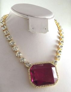 Vintage Couture Red Rhinestone Necklace Red Clear Rhinestone Bib Gold luxury #Unbranded #Choker