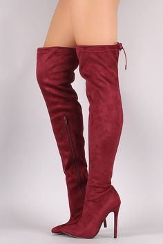 Suede Drawstring-Tie Pointy Toe Stiletto Boots