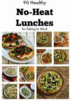 90 Healthy No-Heat Lunches for Taking to Work; this post has 90 delicious options if you don't have a way to heat up food when you're at work! [from KalynsKitchen.com] #HealthyLunch #NoHeatLunch