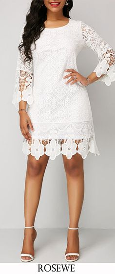 Three Quarter Sleeve White Round Neck Lace Dress.#Rosewe#dress#lacedress