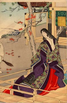 Two court ladies on the balcony of a mountain lodge by Toyohara Chikanobu, (1838–1912)