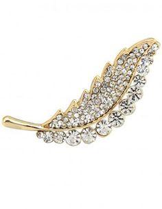 Dahlia Women's Brooch Pin - Rhinestone Leaf