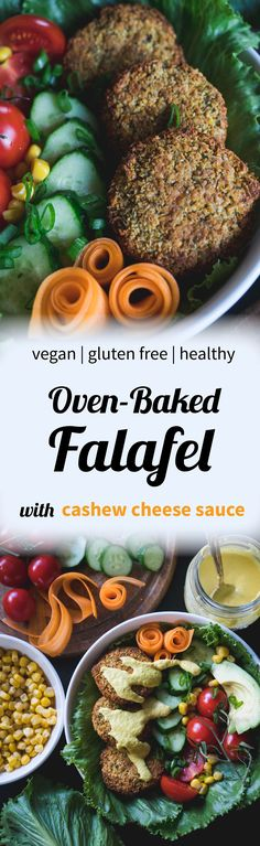 In this recipe, you're about to discover the legit way of making a healthy, oven-baked falafel. It's topped with an easy-to-make vegan cashew cheese sauce.