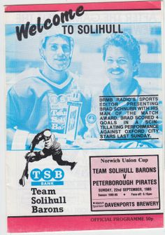 1985 86 Peterborough Pirates Team Solihull Barons British Hockey Program UK