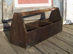 Vintage Wooden Tool Caddy Tote Rustic Barn by CobwebsandCubbyholes, $45.00
