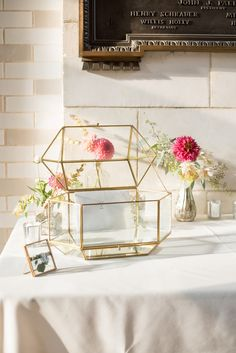 Mikkel Paige Photography photo of a card table with glass geometric holder at a Prospect Park Boathouse wedding in Brooklyn, NYC. Card Table Wedding, Wedding Cards, Card Holder Wedding, Cricut Wedding, Wedding Tables, Prospect Park Boathouse, Geometric Wedding, Geometric Decor, Wedding Designs
