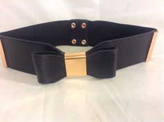 Women's Express Black/Gold Bow Fashion Wide Belt Elastic & Snap Back Size XS/S #Express