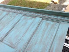 * GREAT step by step instructions from beginning to end - includes antique painting. Old 1914 door zipped into a super cool headboard. Need to add the final installation photo but here's the snapguide! Headboard From Old Door, How To Make Headboard, Queen Headboard, Antique Door Headboards, Shabby Chic Headboard, Window Headboard, Furniture Projects, Home Projects, Diy Furniture