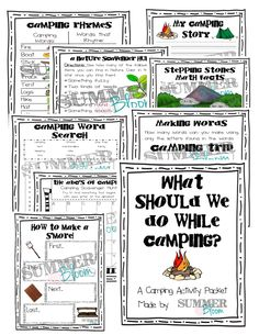 What Should We Do While Camping? A fun summer camping activity packet from SummerBloom. Includes 8 pages of word work, writing activities, and math activities. Perfect to take on the road or camping during the summer! FREEBIE included!!