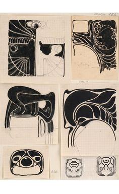 Koloman Moser, decorative designs, 1890-1910. Vienna. MAK Wien, via europeana.
