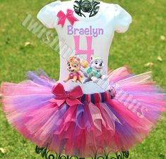Sky and Everest birthday outfit | Paw Patrol Birthday Tutu Outfit | Paw Patrol Birthday Party Ideas | Girls Paw Patrol Birthday Outfit | Girls Paw Patrol Birthday Party Ideas | Skye and Everest Birthday Party Ideas | Girls Birthday Party Ideas | Twistin Twirlin Tutus