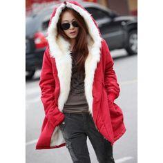 Street Style con capucha peluda color sólido interior mangas largas Mezcla caliente y espesar algodón abrigo de la mujer para Vender - La Tienda En Online IGOGO.ES