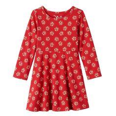 Toddler Girl Jumping Beans® Patterned Skater Dress, Size: 5T, Med Red