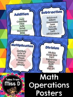 Math Operations Posters  Help students gain understanding and vocabulary with these Math Operations Posters.   Terminology is displayed on 4 separate posters for Addition, Subtraction, Multiplication and Division.  This set also includes an outline page for student reference.  This document is printable in PDF portrait format. View the product preview for details.