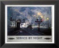 Service by Night, BR, c.1955 Posters by David Shepherd - AllPosters.co.uk