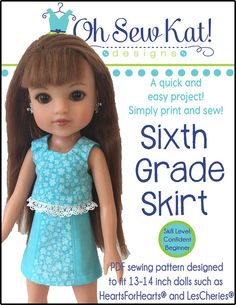 SIXTH GRADE SKIRT FOR HEARTS FOR HEARTS AND LES CHERIES DOLLS
