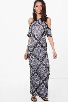 #boohoo Cold Shoulder Pom Pom Paisley Maxi Dress - black #Tanya Cold Shoulder Pom Pom Paisley Maxi Dress - black
