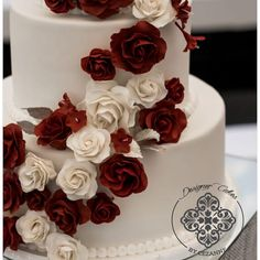 Close-up of the burgundy and white sugar roses trailing down this 3 tier white wedding cake Sugar Rose, How To Make Cake, Cake Designs, Wedding Cakes, Burgundy, Roses, Desserts, Food, Cake Templates