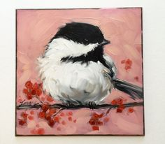 Chickadee painting Original impressionistic oil by LaveryART