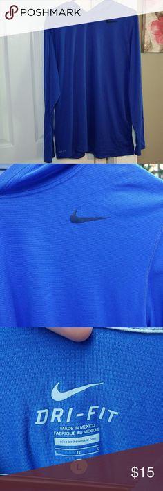 Nike Dri Fit Men's Hoodie- Large Thin Dri Fit Material hoodie for men, size large. Blue material with black Nike logo. Nike Shirts Sweatshirts & Hoodies
