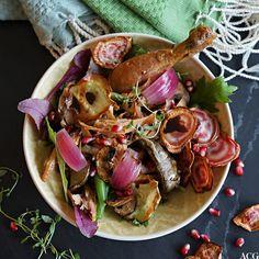 salat med kyllinconfit og rotgrønnsaker