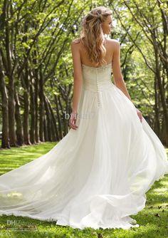 Fluffy Summer Fall Chiffon Wedding Gowns Sexy Empire Waist Crystals Beaded Adorned Bridal Dresses