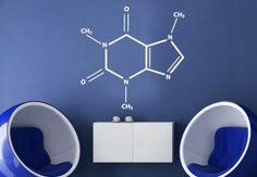 Wall Decals - Caffeine Molecule Wall Decal - Stylish Chemical Formula for Coffee Fans Wall Stickers Home, Wall Decals, Coffee Gallery, Geek Room, Coffee Nook, Chemical Formula, Wall Fans, Learning Spaces, Caffeine