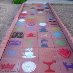 Stenciled Walkway | DIY Walkway Ideas to DIY Before Summer Begins