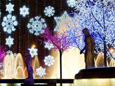 #Christmas #Market.  #Barcelona, #Spain. #Snowflake, #Fountain, #Lights
